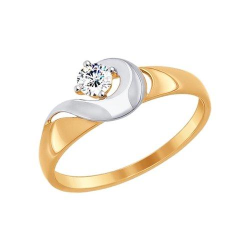 Кольцо из золота с фианитом (017247) - фото