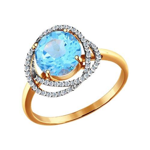 Кольцо с фианитами и роскошным голубым топазом SOKOLOV