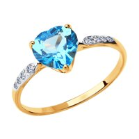 Кольцо из золота с топазом и фианитами
