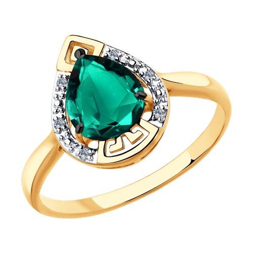 Кольцо из золота с бриллиантами и гидротермальным изумрудом (синт.) (6017028) - фото