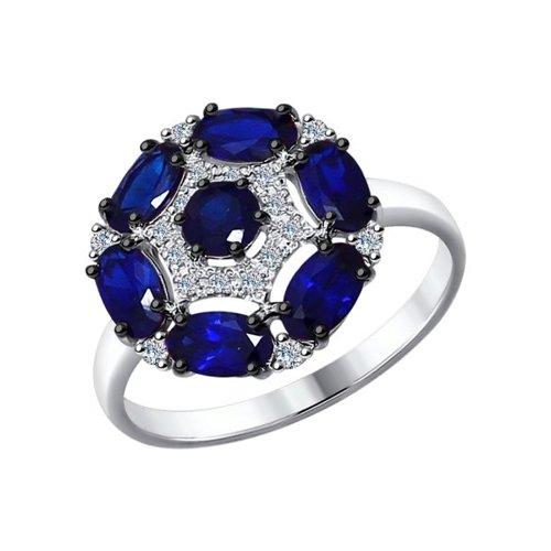 Кольцо из белого золота с бриллиантами и корундами сапфировыми (синт.)
