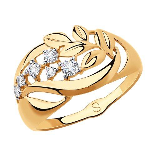 Кольцо из золота с фианитами (018238) - фото