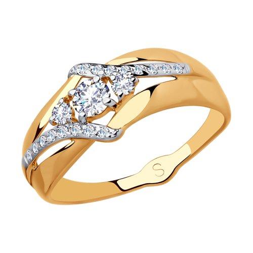 Кольцо из золота с фианитами (018086) - фото