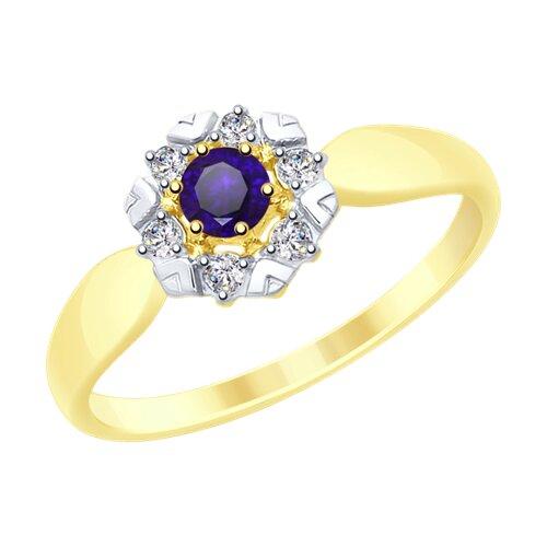 Кольцо из желтого золота с синим корунд (синт.) и фианитами (715307-2) - фото