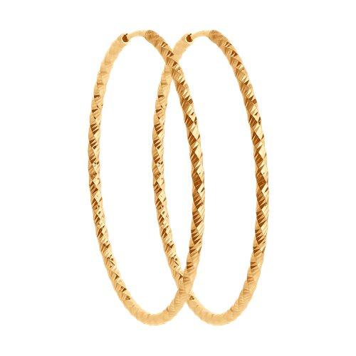 Серьги конго из золота с алмазной гранью (140159) - фото