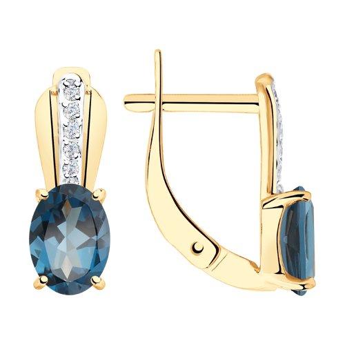 Серьги из золота с синими топазами и фианитами (725845) - фото