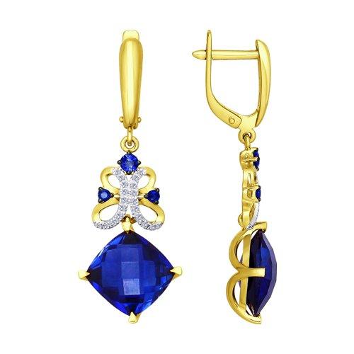 Серьги из желтого золота с бриллиантами и синими корундами (синт.) (6022042-2) - фото