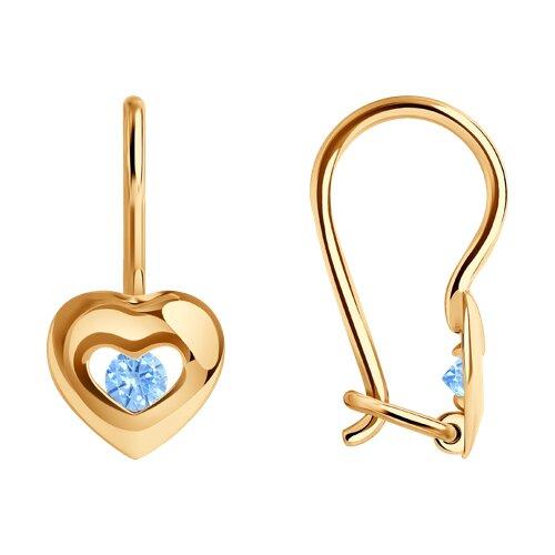 Серьги из золота с голубыми фианитами (027227) - фото