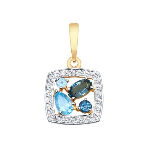 Подвеска из золота с голубыми и синими топазами и фианитами
