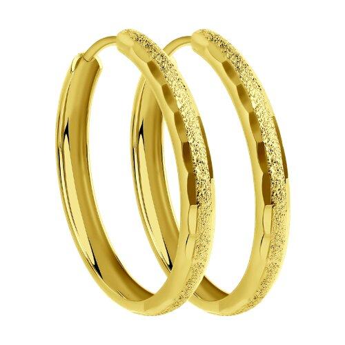 Серьги из желтого золота с алмазной гранью (140107-2) - фото