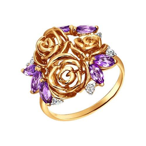 Кольцо SOKOLOV из золота c аметистами и фианитами «Розы» стоимость