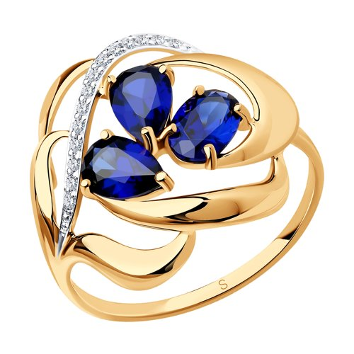 Кольцо из золота с синими корундами (синт.) и фианитами (714733) - фото