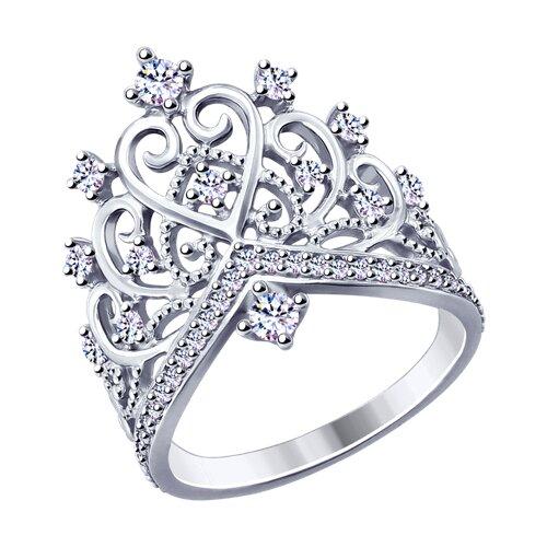 Кольцо из серебра с фианитами (94012777) - фото
