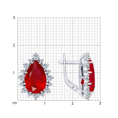 Серьги из серебра с корундами рубиновыми (синт.) и фианитами (84020024) - фото №2