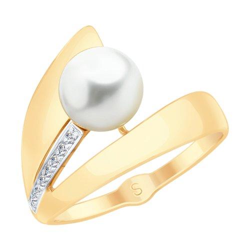 Кольцо из золота с жемчугом и фианитами (791100) - фото