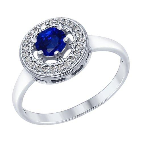 Кольцо из серебра с бесцветными и синим фианитами (94012316) - фото