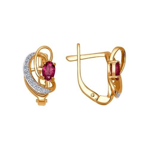 Золотые серьги с бриллиантами и рубином SOKOLOV