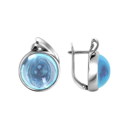 Серебряные серьги с голубым топазом SOKOLOV