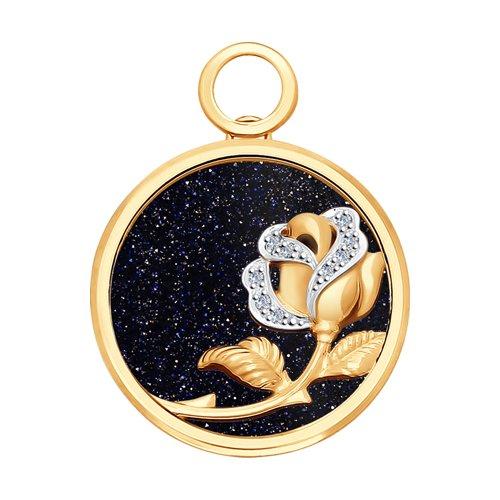 Подвеска из золота с бриллиантами и авантюриновое стекло
