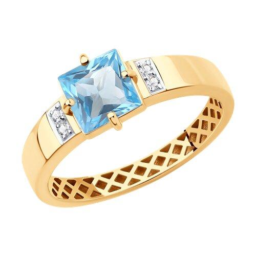 Кольцо из красного золота с топазом и фианитами