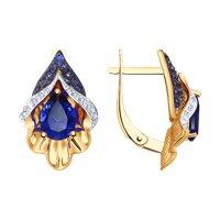 Серьги из золота с синими корундами (синт.) и бесцветными и синими фианитами