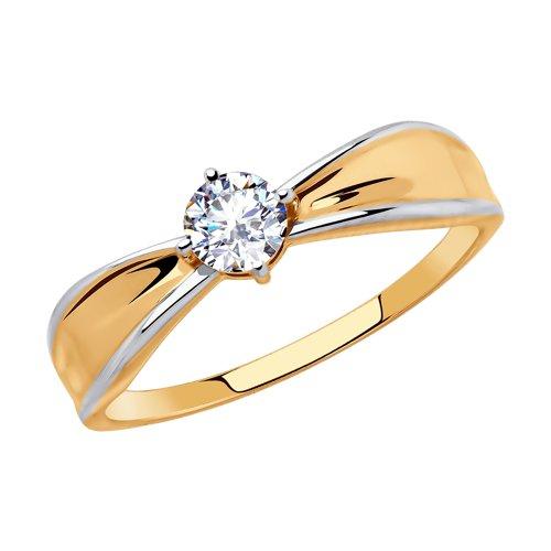 Кольцо из золота с фианитом (018462) - фото