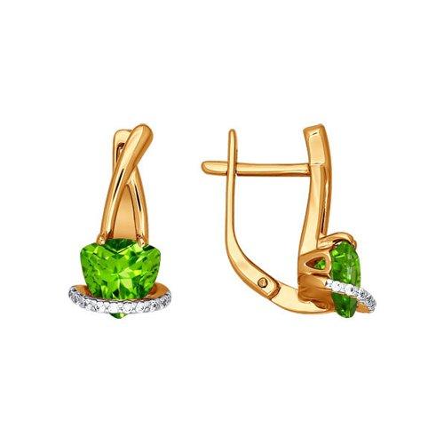 Серьги из золота с фианитами и хризолитами