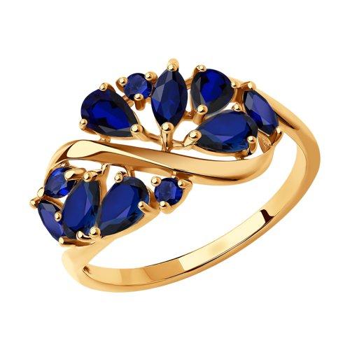 Кольцо из золота с синими корундами (синт.) (714843) - фото