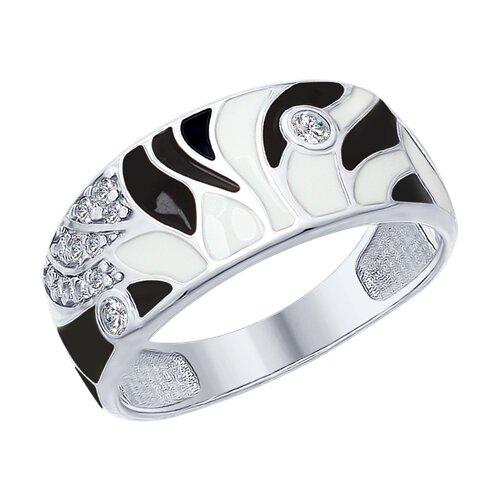 Кольцо из серебра с эмалью и фианитами (94012448) - фото