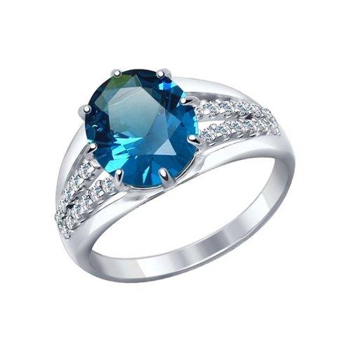 Кольцо из серебра с синим ситаллом и фианитами
