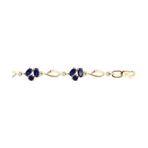 Браслет из золота с синими корунд (синт.) (750336) - фото