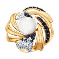 Кольцо из золота с жемчугом и бесцветными и чёрными фианитами
