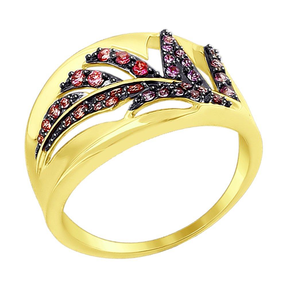 Фото - Кольцо SOKOLOV из желтого золота с красными, розовыми и сиреневыми фианитами подвеска sokolov из золота с розовыми сиреневыми и красными фианитами