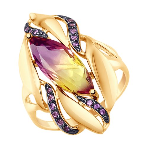 Кольцо из золота с ситаллом аметрин и фианитами (37714779) - фото