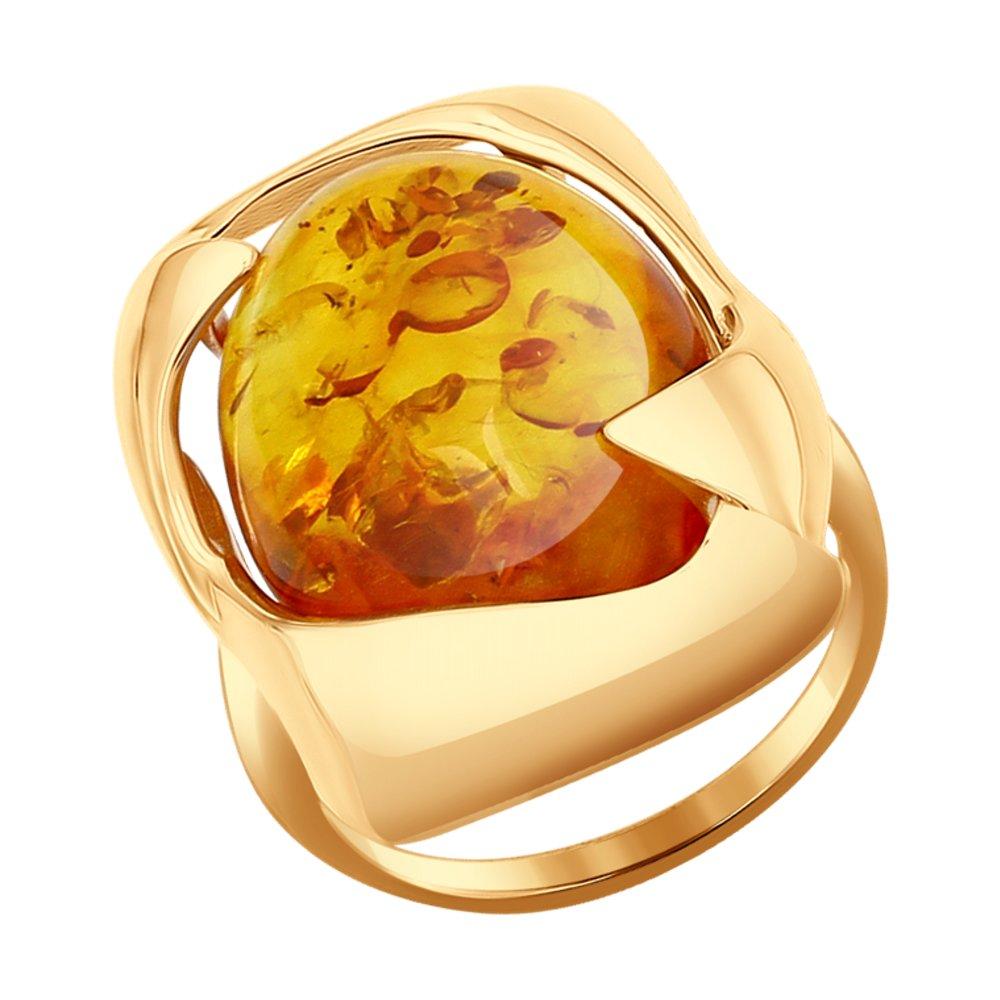 Кольцо SOKOLOV из золота с янтарём