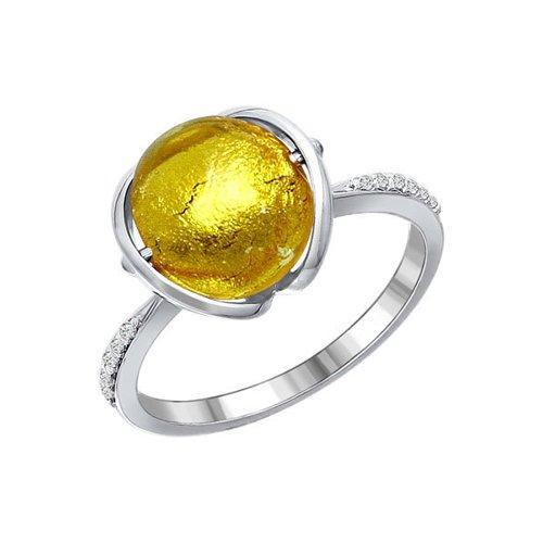 Кольцо с желтым муранским стеклом cacharel золотые серьги с халцедонами и муранским стеклом xy305gmuv