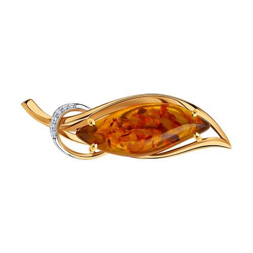 Брошь из золота с янтарём и фианитами 740351 sokolov фото