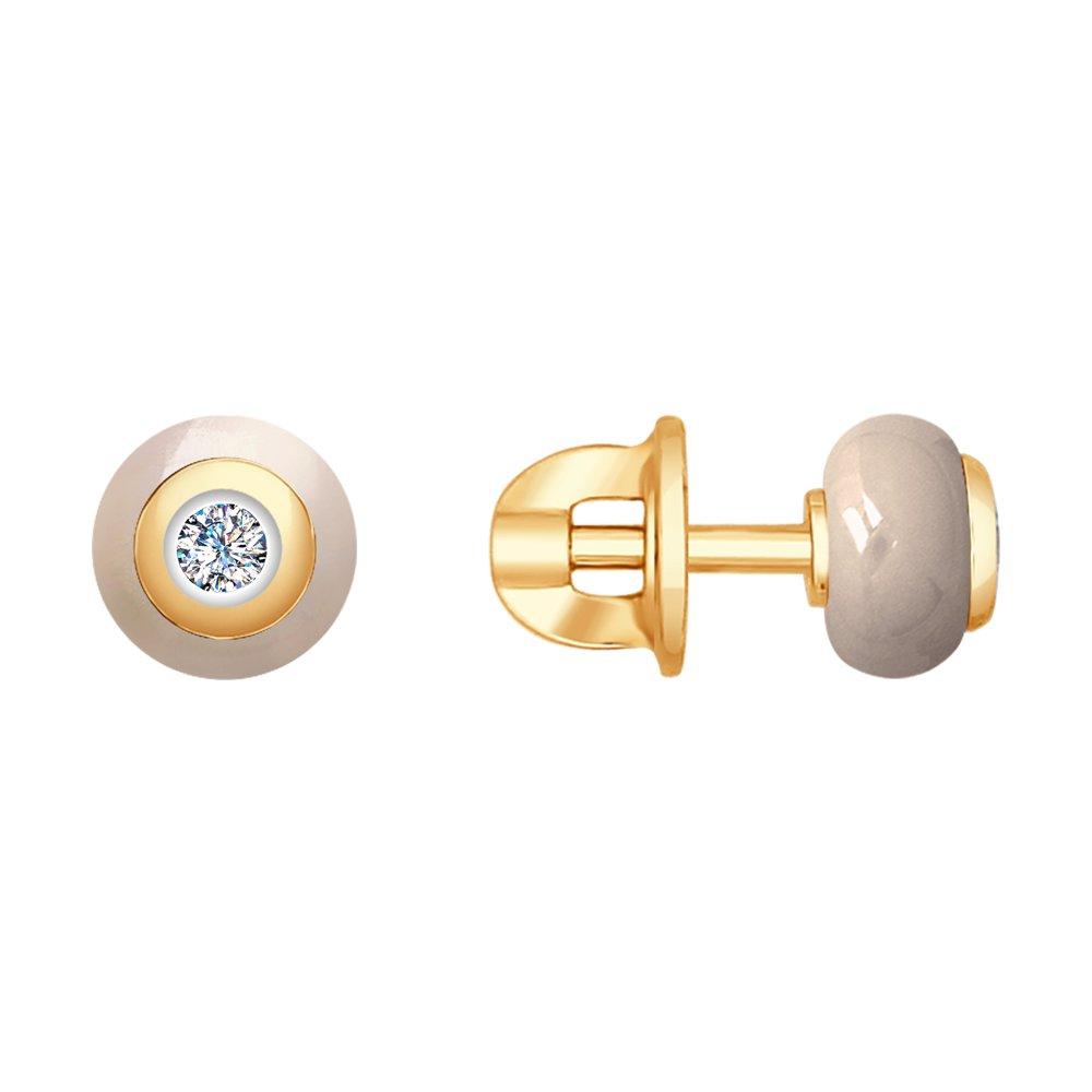 Пусеты SOKOLOV из золота с керамикой и бриллиантами