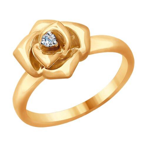 Кольцо «Роза» из золота с бриллиантом (1011681) - фото