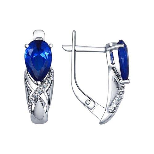 Серьги из серебра с бесцветными и синими фианитами (94022383) - фото
