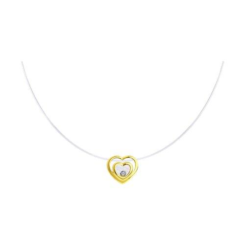 Колье из желтого золота с бриллиантом и перламутром 1070129-2 sokolov фото