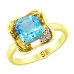 Кольцо из желтого золота с бриллиантами и топазом