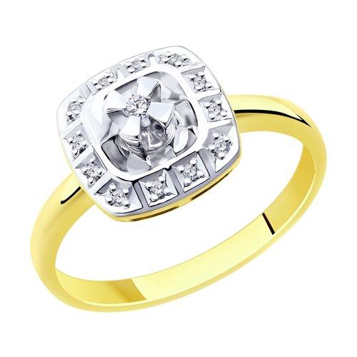 Кольцо из комбинированного золота с бриллиантами (1011880-2) - фото