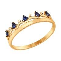 Кольцо «Корона» с синими фианитами