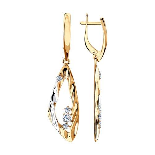 Серьги из золота с фианитами (028533) - фото