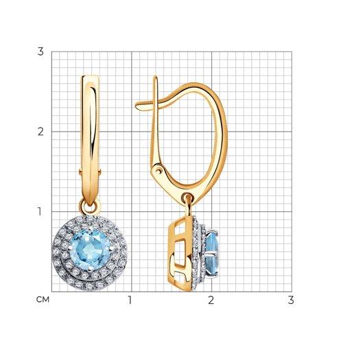 Серьги из золота с бриллиантами и аквамаринами 6024149 SOKOLOV фото 2