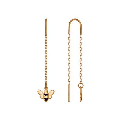 Серьги-цепочки из золота с эмалью цена