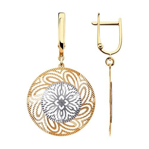 Серьги из комбинированного золота с алмазной гранью