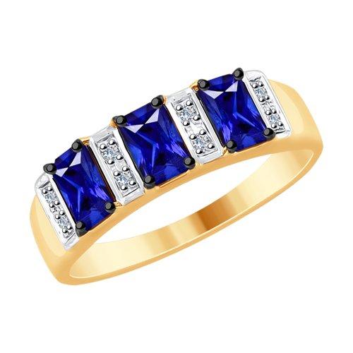 Кольцо из золота с бриллиантами и синими корунд (синт.) (6012122) - фото