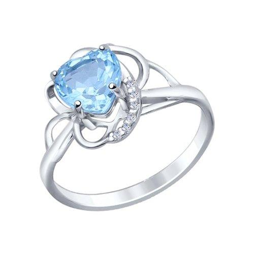 Кольцо love SOKOLOV из серебра с топазом и фианитами кольцо love sokolov